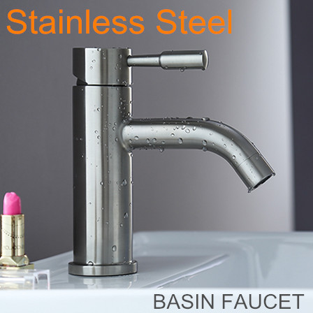 Brushed Stainless Steel Single Hole Faucet Bathroom Mixer Tap Basin Faucets Hot and Cold Water+2 pcs Hoses