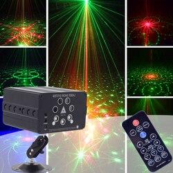 Ysh 120 padrões de iluminação palco efeito som ativado 7 feixe laser projetor palco para casamento dj dança festa em casa discoteca clube