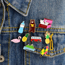 9PCS/SET Swan Bear Mountain Pineapple Cats Bus Tree Water bottles Cartoon pins and brooches Badges Hard enamel lapel pin(China)