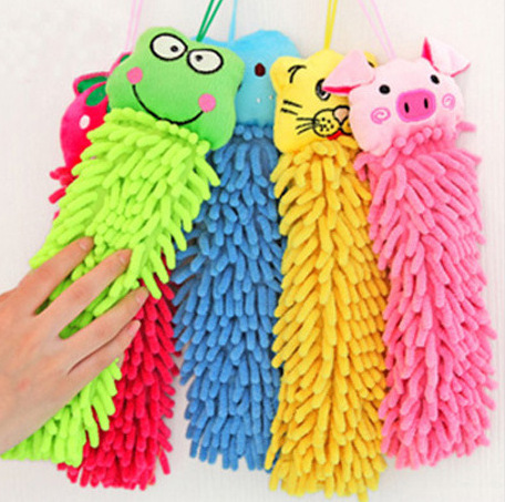 4Pcs/lot Cartoon Animal Cleaning Hand Towel Microfiber Absorbent Hand Dry Towel For Kitchen Bathroom Office Car Use