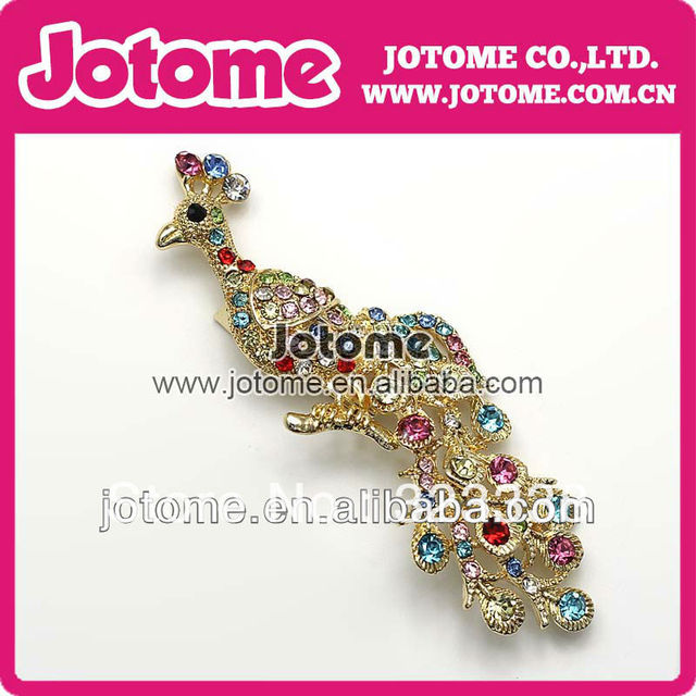 50pcs lot Large Vintage Golden Plated Fashion Elegant Women Jewelry Peacock  Rhinestone Brooches Pins for 19b383f9f669