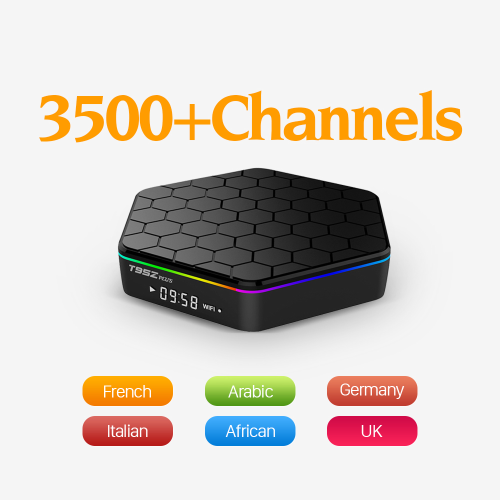 Original T95Zplus Android 6.0 Smart Set-top TV Box 4K IPTV Europe Arabic Sweden French IPTV Box Subtv Subscription 3500 Channels