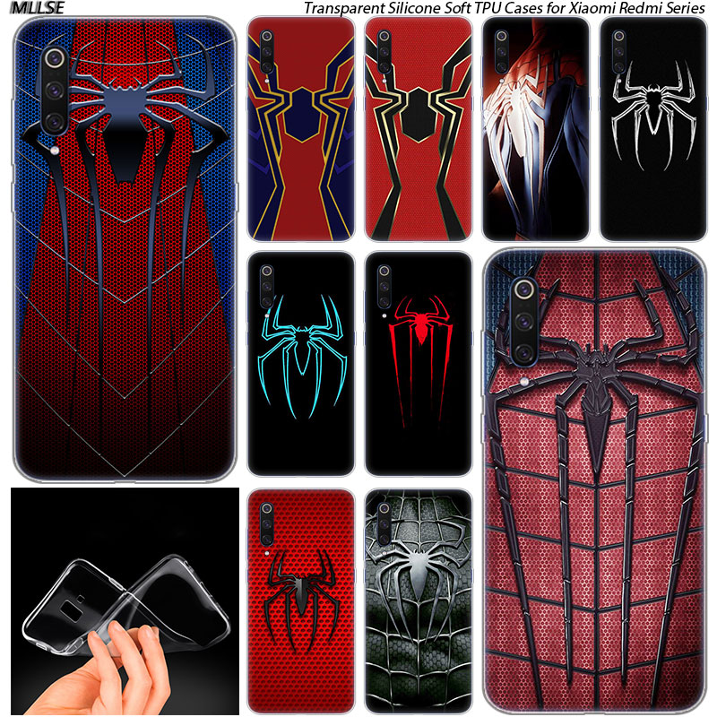 Hot The <font><b>Amazing</b></font> Spider Man logo Silicone Case for <font><b>Xiaomi</b></font> Pocophone F1 Mi 5X A1 6X A2 8 SE Lite Play Mix3 9 9SE 9T Pro CC9 image