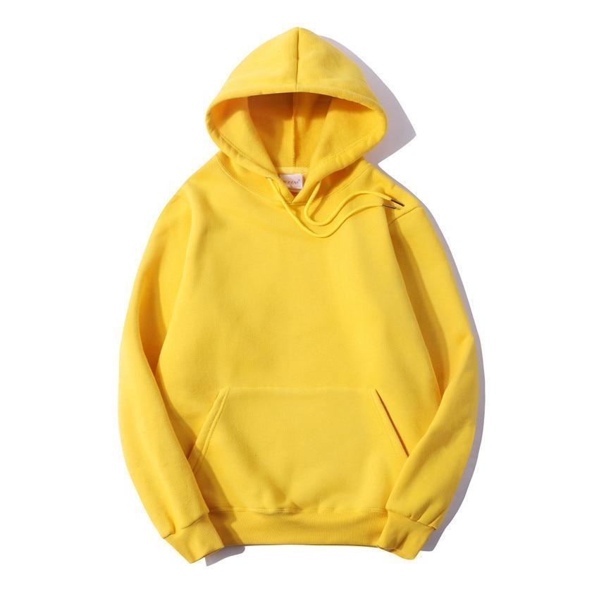 Fashion Brand Men's Hoodie Solid Color Casual Men 100% Cotton 1
