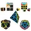 5 PCS Set Carbon Fiber Sticker Magic Cube Professional 2x2x2 3x3x3 Pyraminx Megaminx Skew Cube Educational