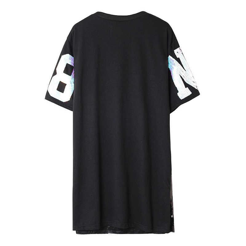 7 Манг 2019 женская уличная футболка в блестках с Микки Маусом черные, Серебряные вечерние футболки Харадзюку Свободные Kwaii 0308