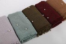 여자 버블 코튼 비즈 주름 스카프 목도리 Crumple 진주 랩 이슬람 머리띠 Viscose 겨울 스카프 55 색