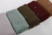 Womens Bubble Cotton Beads Wrinkle Scarf Shawl Crumple Pearl Wrap Muslim Headband Viscose Winter Scarves 55 Color
