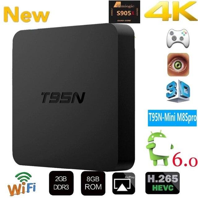 Mini T95M M8S Pro أندرويد TV BOX1G/2G/8G Amlogic S905 رباعية النواة Cortex A53 أندرويد 6.0 دعم HDMI 2.4GHZ واي فاي تدفق وسائل الإعلام