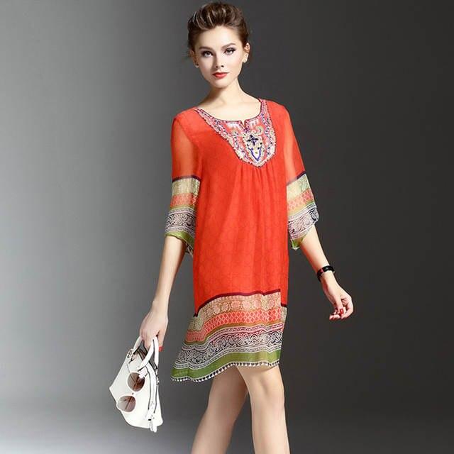 US $19.55 50% OFF|Plus Size Ethnic Vintage Silk Chiffon Summer Dress Short  Red Floral Sequin Dress Elegant Beading Diamond Women Vestidos RE2263-in ...