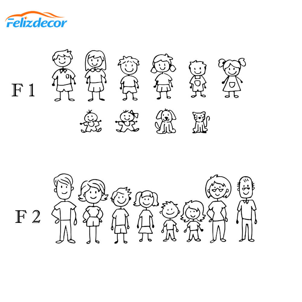 16cm wide Family Svg Car Decals Father, mother, daughter, son and dog stick figure family Self-sticking Figure Car Sticker L1039