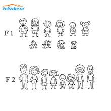 16 cm de largura Svg Decalques Do Carro Da Família Pai, mãe, filha, filho e vara cão figura Figura Etiqueta Do Carro da família Auto-colagem L1039