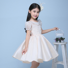 champnge appliques flower girl dresses for wedding birthday party puff sleeve doll collar ball gown pageant