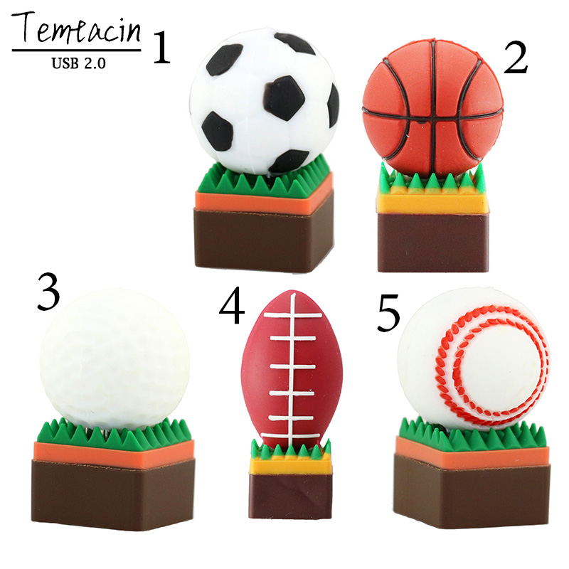 Cute Basketball Football Rugby Golf USB 2.0 Stick USB Flash Drive 8GB 16GB 32 GB Գրիչ Drive Memory Stick PenDrive U Disk USB Drive
