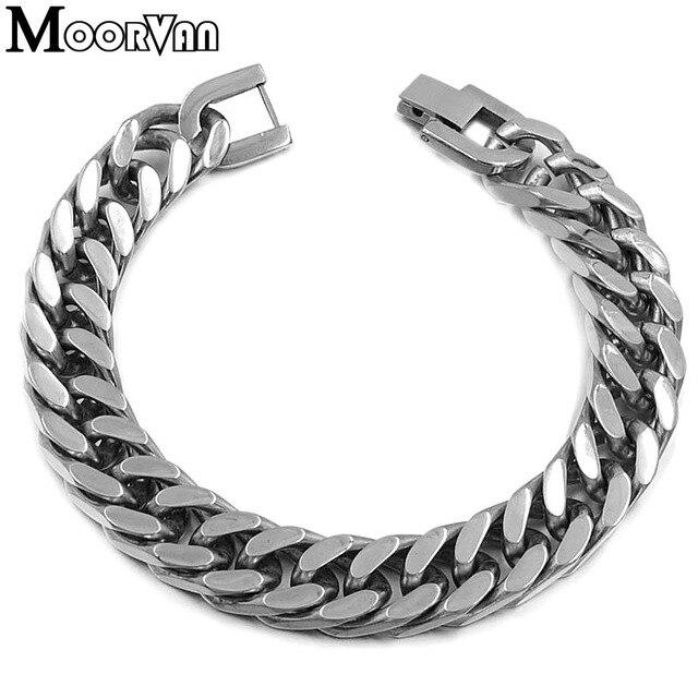 Moorvan New Product Stainless Steel Bracelet For Men Jewelry Hip Hop Bracelets 21 5cm