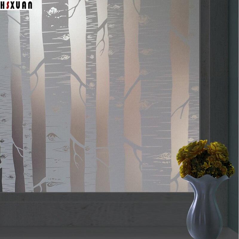 tree decorative window film 50x100cm bathroom furniture decor pvc frosted glue window sticker - Frosted Window Film