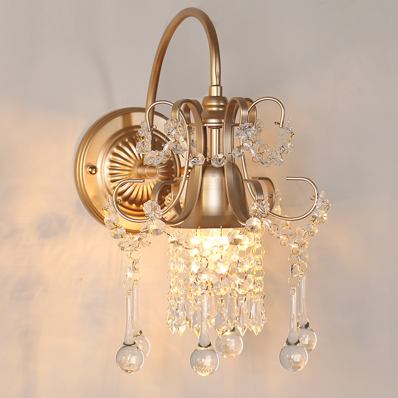 American Sconce Wall Lights retro crystal wrought iron wall lamps living room background Led Light aisle bedroom bedside lamp nordic style retro light creative 1 lamp holder corridor bedside deco sconce wall lights contracted wrought iron wall lamps