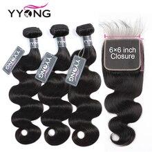 Yyong Волосы Бразильские Объемная Волна 3 Пучки С Закрытием 6X6 Кружева Закрытие С Пучками Не Реми