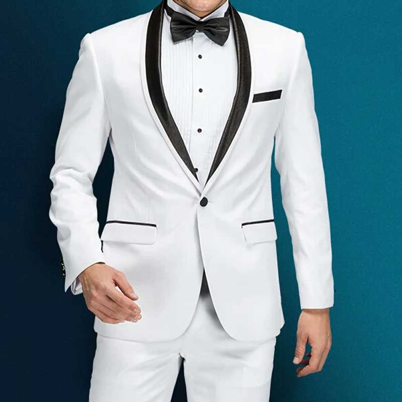 White Men Suits for Wedding Suit Black Shawl Lapel Groom Tuxedo 2Piece Coat Pants Slim Fit Terno Masculino Costume Mariage Homme in Suits from Men 39 s Clothing