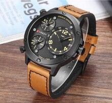 Curren 2018 moda negócios relógios de alta qualidade pulseira couro quartzo relógio de pulso múltiplo fuso horário masculino relojes