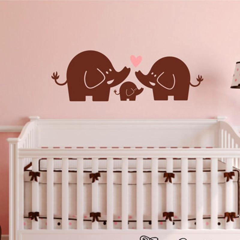 Personalised Fofo Elefantes Berçário Quarto De Bebê Vinil De Parede Adesivo Decalque V415