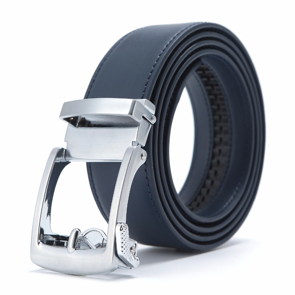 New Designer Popular Luxury Cowhide Leather   Belt   Men Blue Brown Automatic Buckle Belly Waist Business Casual   Belts   For Men