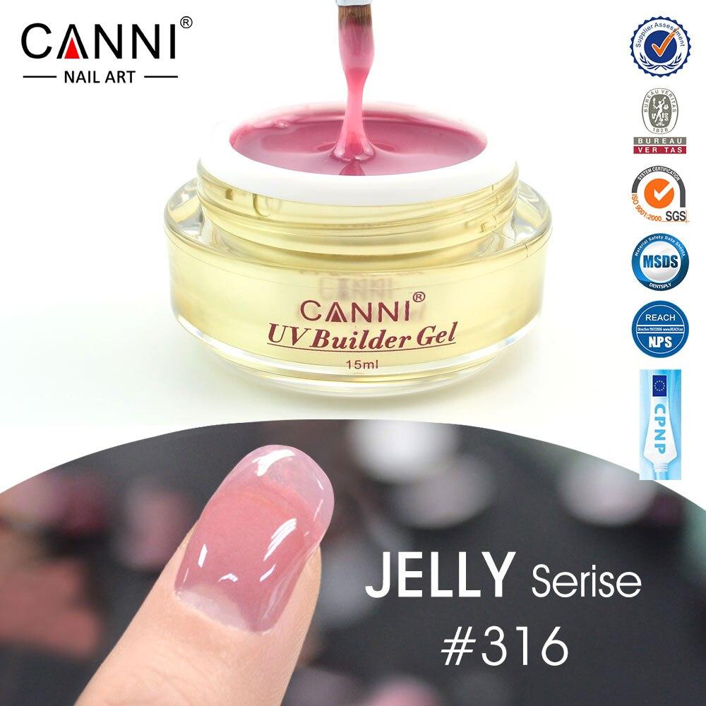 Canni atacado capa rosa camuflagem geléia extensão do prego uv construtor gel transparente claro nude cor prego uv construtor gel 15ml