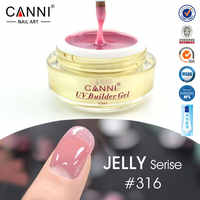 CANNI venta al por mayor cubierta Rosa camuflaje gelatina extensión UV Builder Gel transparente color desnudo uñas UV Builder Gel 15 ml