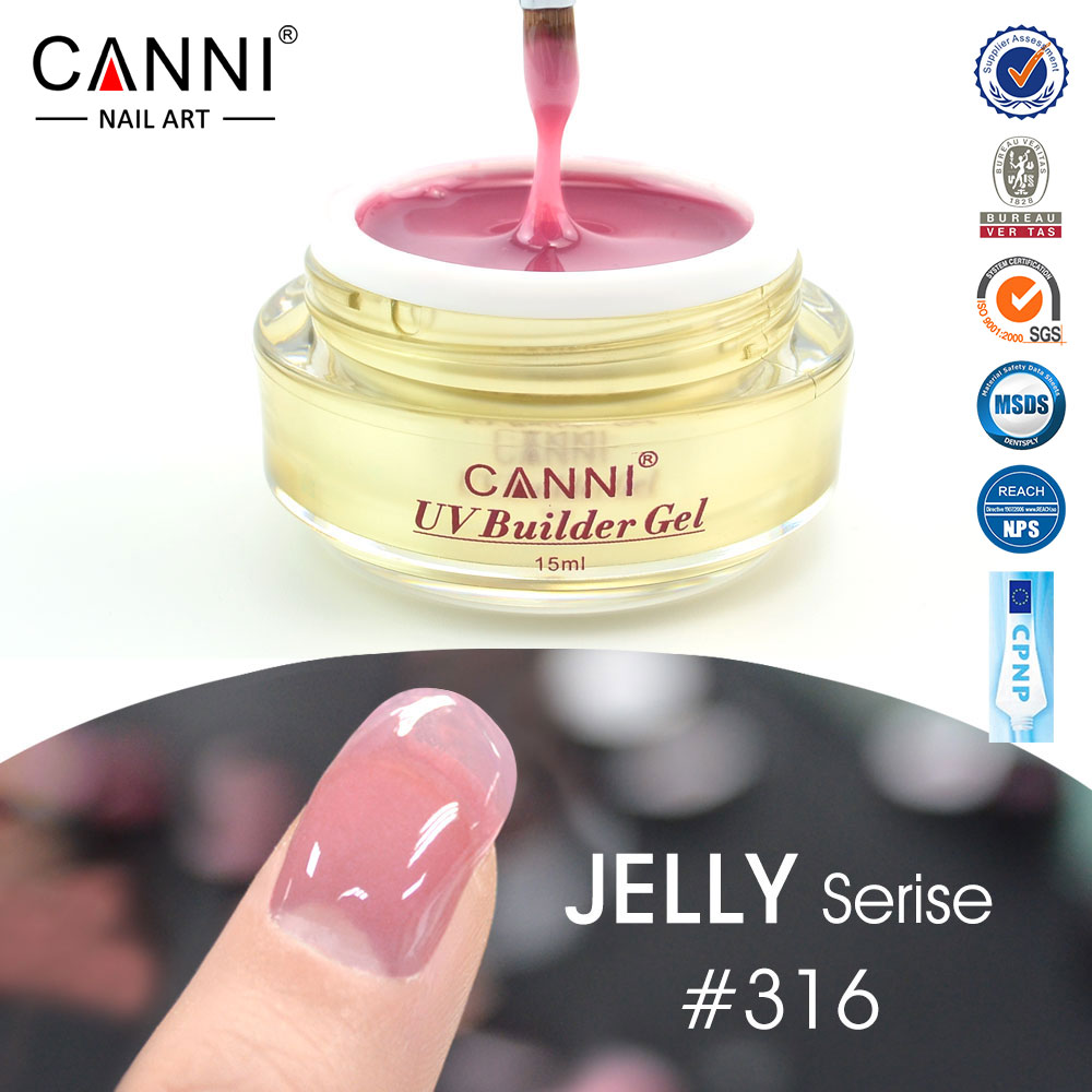 CANNI venta al por mayor cubierta de Rosa camuflaje de uñas extensión UV Builder Gel transparente color Nude de uñas UV Builder Gel 15 ml
