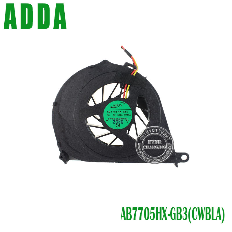 Wholesale&Retail New CPU Cooling Fan For Toshiba Satellite L750 L655 L750D-14R Series Laptop ADDA AB7705HX-GB3 CWBLA 0.50A 3pin