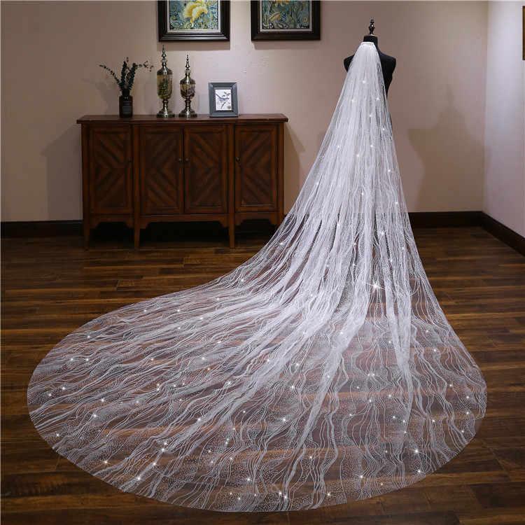 ประกาย 2019 Sequins ยาวเจ้าสาว 3 M Cathedral Veil ivory ยาวเจ้าสาวงานแต่งงานอุปกรณ์เสริมผม