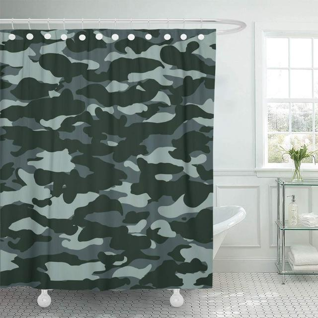 Fabric Shower Curtain With Hooks Abstract Dark Marine Navy Blue Camo Pattern Army Camoflage Camouflage Color