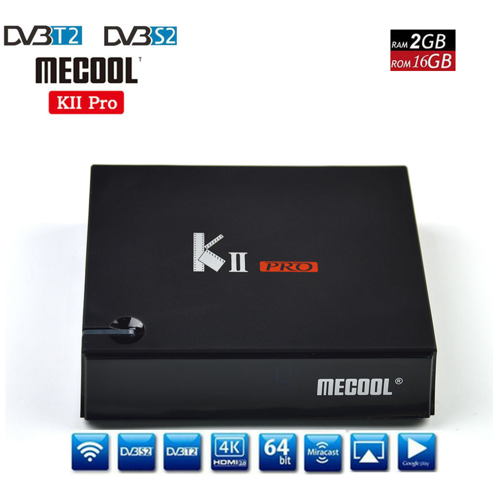 Mecool DVB-S2/T2 KII PRO Amlogic S905D KII PRO Android TV Box QuadCore 2GB16GB 4K Support CCCAM NEWCAMD 2.4/5GHz Dual Wifi BT4.0