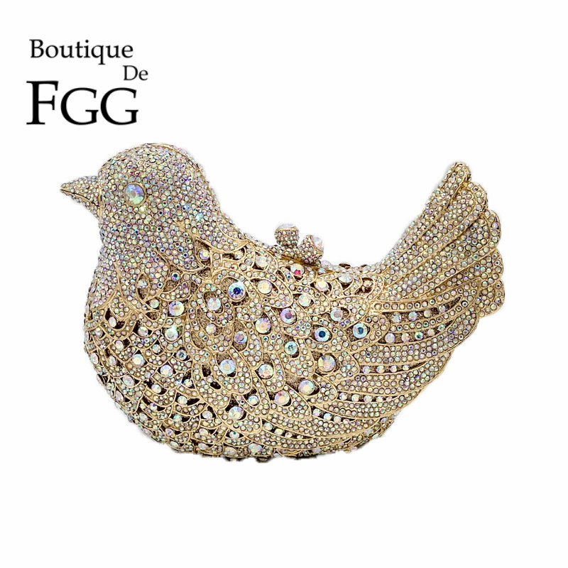 Boutique De FGG Crystal AB Luxury Handbags Women Bird Clutch Evening Bags Metal Minaudiere Wedding Party Purse Bolsos De Noches