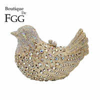 Boutique De FGG Crystal AB Luxury Handbags Women Bird Clutch Evening Bags Metal Minaudiere Wedding Party Purse Bolsos de Noches