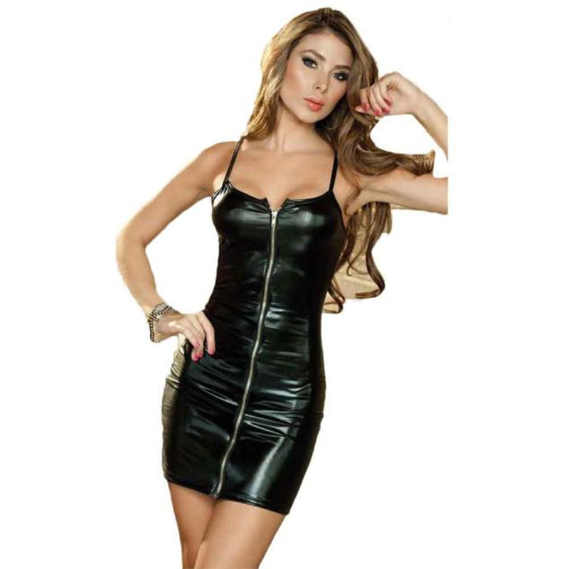 2018 Women Black Sexy Bodycon Leather Dress Sexy Strappy Zipper Latex Club Wear Clothing Mini Dress Catsuits Cat Suits Vestidos