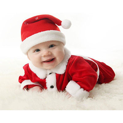Fashion Newborn Baby Boy Girl Santa Christmas Suits Cute Hat Long Sleeve Tops and Pants Xmas Outfit Set Costume
