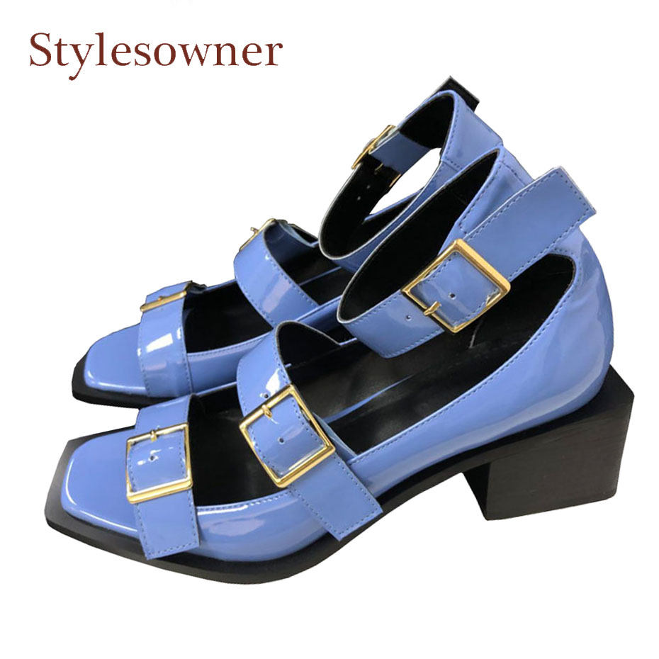 Stylesowner full leather belt buckle decoration hollow gladiator sandals peep toe 5cm square heel 4 colors women summer shoes цена 2017
