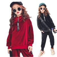 Girls Clothes Sets Kids Boutique Outfits Autumn Long Sleeve Velvet Hoodies Tracksuit Hip Hop Teenage Girls Clothing 10 12 Years