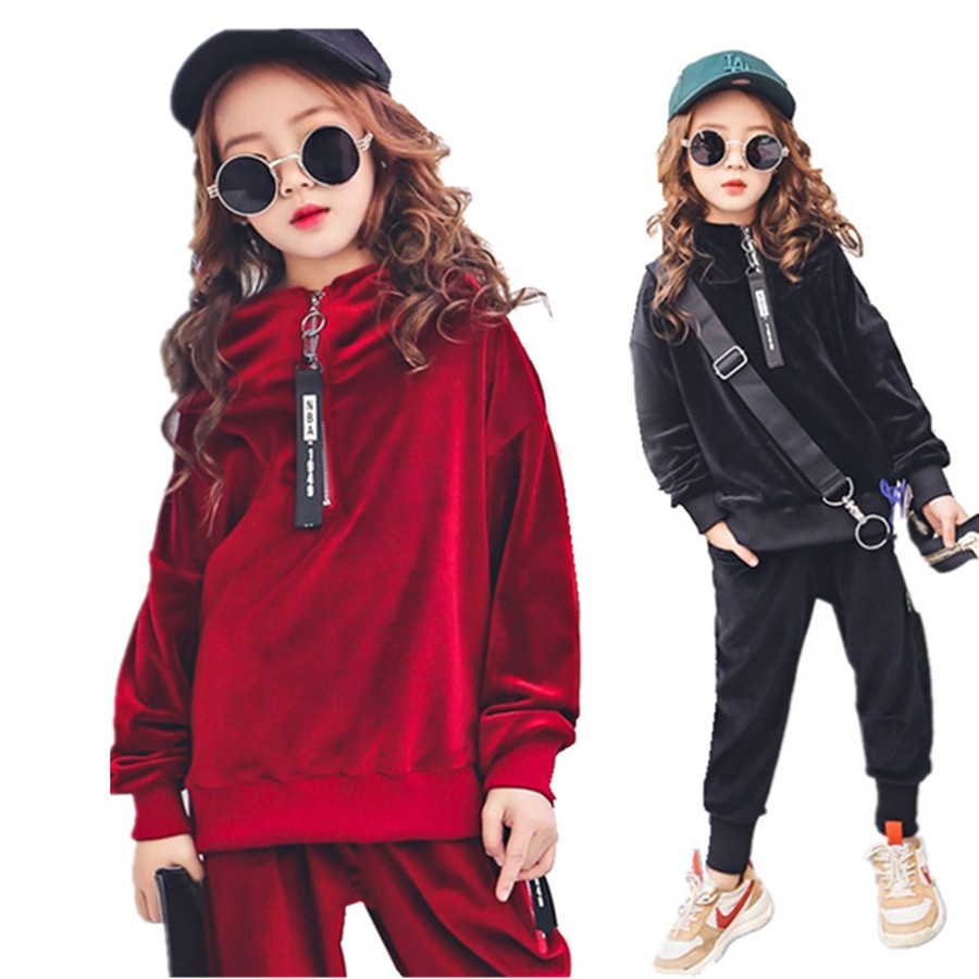 Girls Clothes Sets Kids Boutique Outfits Autumn Long Sleeve Velvet Hoodies Tracksuit Hip Hop Teenage Girls Clothing 10 12 Years le suit women s water lilies woven pant suit with scarf