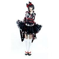 Япония Лолита Harajuku Косплэй кимоно платье рубашка пояс Сакура печатных размеры s m l xl LQ001