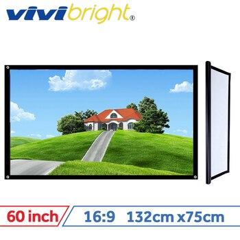 VIVIBRIGHT 16:9 Pantalla de proyector portátil, pantalla de PVC de 60 pulgadas para cine en casa, viajes. Soporte proyector LED proyector DLP