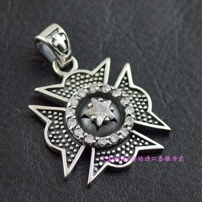29755d91422b 925 joyería de plata esterlina ZIRCON retro ahora Cruz colgante de plata  tailandés