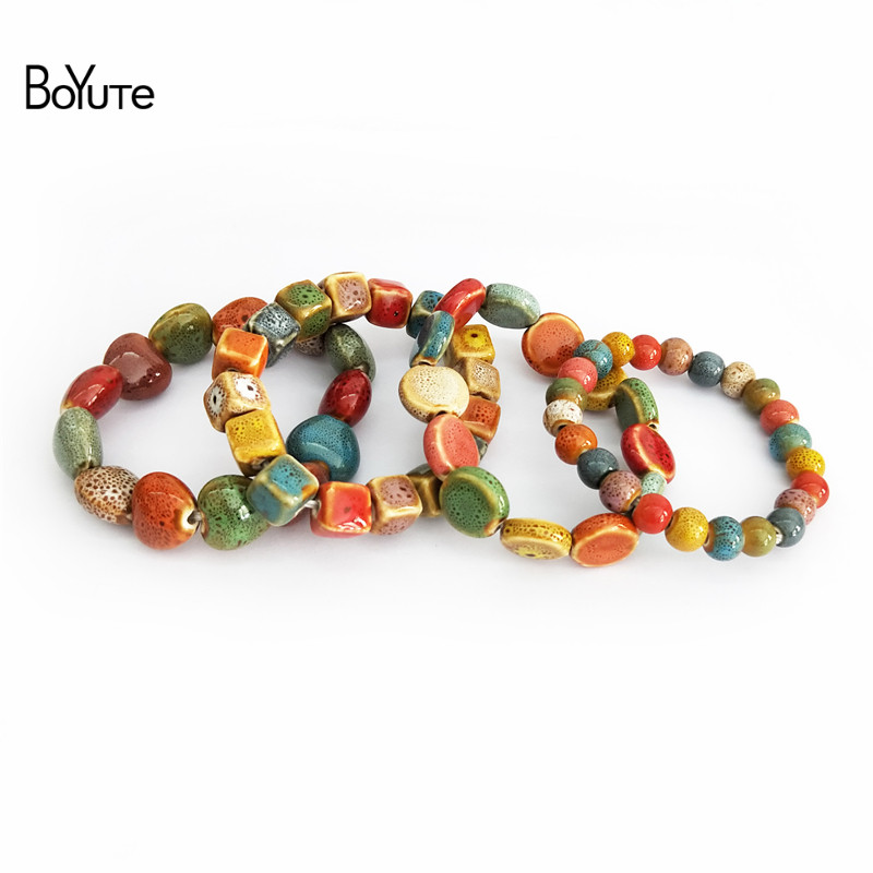 BoYuTe Retail 1 Piece Ethnic Style Hand Made Knitted Glaze Flower Ceramic Bead Bracelet Men Women