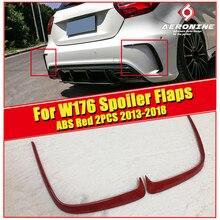 A class W176 Rear Bumper Splitter Canard ABS Red 2 pcs For Mercedes Benz A180 A200 A250 A45AMG look Sports Lip Splitters 2013-18