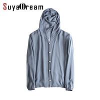 Women Hooded Blouse 100% REAL SILK Solid Transparent silk chiffon Button blouse shirt Blusas femininas 2018 FALL New