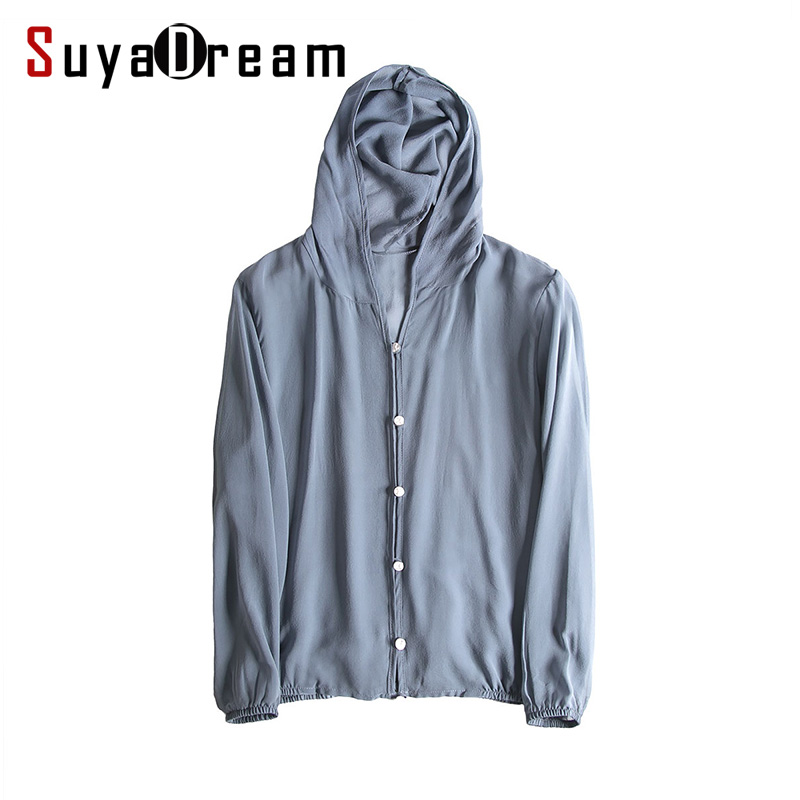Women Hooded Blouse 100% REAL SILK Solid Transparent