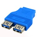 20 pin Motherboard Header Hembra a Dual USB 3.0 Tipo A Hembra Adaptador de Conector Azul Al Por Mayor