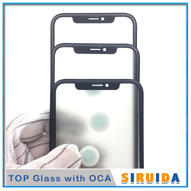 5pcs original cold press 3 in 1 Glass With Frame OCA Glue For iPhone XR front