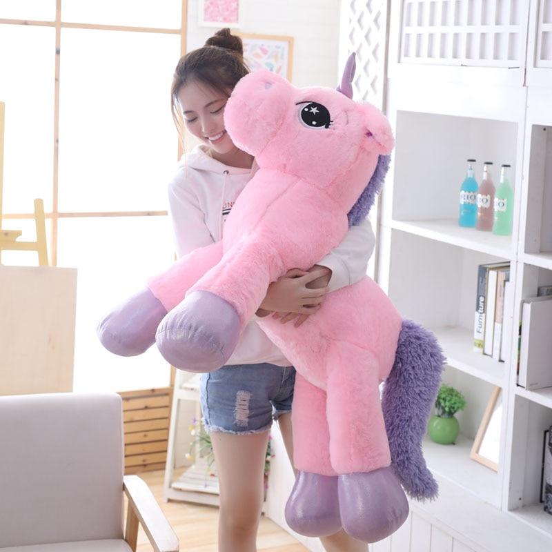 80CM/110CM Unicorn Plush Toys Unicorn Stuffed Animal Soft Doll Big Size Giant Unicornio Plush Pillow For Kids Children Birthday